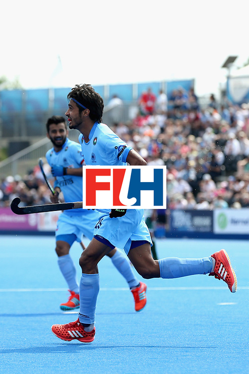 LONDON, ENGLAND - JUNE 18: Pardeep Mor of India celebrates scoring the sixth goal for India during the Hero Hockey World League Semi Final match between Pakistan and India at Lee Valley Hockey and Tennis Centre on June 18, 2017 in London, England.  (Photo by Alex Morton/Getty Images)