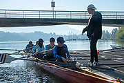 """Lucerne, SWITZERLAND, 12th July 2018, Friday  Last word from the Coach, Bulgarian National, Lubo KISIOV,  before """"Pushing Off"""" Seeclub, Luzern"""", """"Lucerne"""" """"Lake Lucerne',  Photographer, Karon PHILLIPS,"""