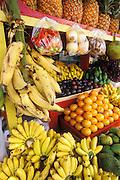 Fruit on display at produce stand in Plaza de la Darsena, Paseo la Princesa, Old San Juan, Puerto Rico.