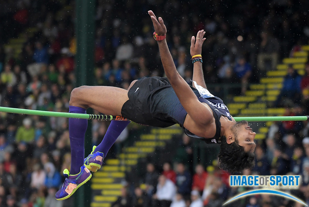 Jun 8, 2018; Eugene, OR, USA; Tejaswin Shankar of Kansas State wins the high jump at 7-4 1/4 (2.24m) during the NCAA Track and Field championships at Hayward Field.