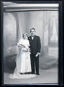 wedding portrait in studio with classic interior background France circa 1930s