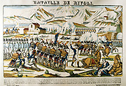 Napoleon at the Battle of Rivoli'. Rivoli (14-15 January 1797) defeat of Austria by French forces under Bonaparte.  Popular French hand-coloured woodcut.