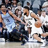 04 April 2017: Memphis Grizzlies forward James Ennis III (8) drives past Memphis Grizzlies guard Mike Conley (11) during the San Antonio Spurs 95-89 OT victory over the Memphis Grizzlies, at the AT&T Center, San Antonio, Texas, USA.