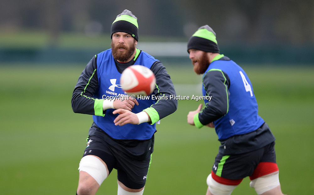 20.11.14 - Wales Rugby Training -<br /> Alun Wyn Jones and Jake Ball(R) during training.<br /> &copy; Huw Evans Picture Agency