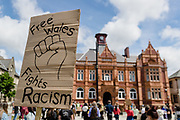 Free Wales fights racism sign during the Black Lives Matter Protest in Merthyr Tydfil, Wales on 7 June 2020.