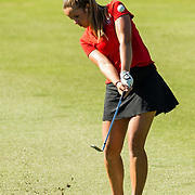 28 March 2018: Sara Kjellker hits a wedge up to the twelfth green during the final round of match play against UCLA at it's annual March Mayhem Tournament at the Farms Golf Club in Rancho Santa Fe, California.<br /> More game action at sdsuaztecphotos.com
