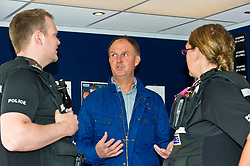 Pictured: PC Brian McGuff, Community officer, Sandy Allan ROSPA, and PC Heather Stil,l Divisional Road Policing<br /> <br /> Destination Drive launch. The initiative aims to help older drivers stay safe on the road. Open invitation to first drop-in session where you can get a free assessment drive and try the current theory and hazard perception tests. <br /> <br /> Ger Harley | EEm 12 June 2018
