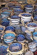 Typical traditional ceramic bowls on sale with prices in euros at the old street market - Mercado -  in Ortigia, Syracuse, Sicily