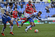 Reading FC midfielder Danny Williams under pressure during the The FA Cup fourth round match between Reading and Walsall at the Madejski Stadium, Reading, England on 30 January 2016. Photo by Mark Davies.