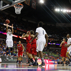 April 7, 2013; New Orleans, LA, USA; California Golden Bears guard Layshia Clarendon (23) shoots against the Louisville Cardinals during the first half in the semifinals during the 2013 NCAA womens Final Four at the New Orleans Arena. Mandatory Credit: Derick E. Hingle-USA TODAY Sports