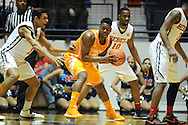 "Mississippi Rebels forward Anthony Perez (13) vs. Tennessee Volunteers forward Armani Moore (4) at the C.M. ""Tad"" Smith Coliseum in Oxford, Miss. on Saturday, February 21, 2015. (AP Photo/Oxford Eagle, Bruce Newman)"