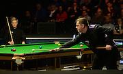 20.02.2016. Cardiff Arena, Cardiff, Wales. Bet Victor Welsh Open Snooker semi-finals. Mark Allen versus Neil Robertson. Mark Allen at the table.