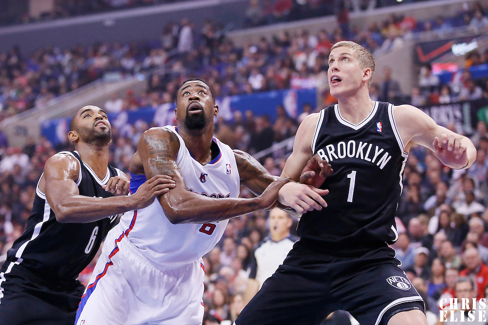 16 November 2013: Los Angeles Clippers center DeAndre Jordan (6) vies for the rebound with Brooklyn Nets power forward Mason Plumlee (1) and Brooklyn Nets shooting guard Alan Anderson (6) during the Los Angeles Clippers 110-103 victory over the Brooklyn Nets at the Staples Center, Los Angeles, California, USA.