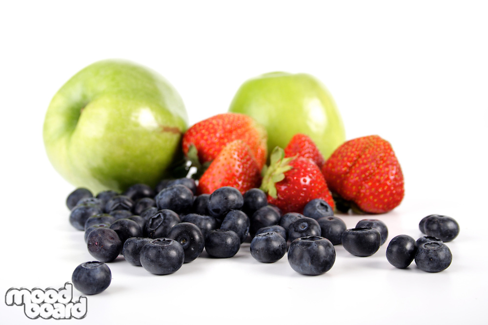 Fruit composition on white bacground