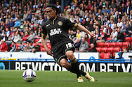 Wigan Athletic&rsquo;s Roger Espinoza on the ball. Skybet football league championship match, Blackburn Rovers v Wigan Athletic at Ewood Park in Blackburn, England on Saturday 3rd May 2014.<br /> pic by Chris Stading, Andrew Orchard sports photography.