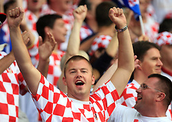 Fans of Croatia celebrating a goal during the UEFA EURO 2008 Group B soccer match between Austria and Croatia at Ernst-Happel Stadium, on June 8,2008, in Vienna, Austria.  (Photo by Vid Ponikvar / Sportal Images)