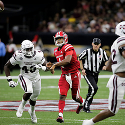 Aug 31, 2019; New Orleans, LA, USA; Louisiana-Lafayette Ragin Cajuns quarterback Levi Lewis (1) throws as Mississippi State Bulldogs defensive end Fletcher Adams (43) pressures during the first half at the Mercedes-Benz Stadium. Mandatory Credit: Derick E. Hingle-USA TODAY Sports