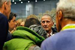 George Morris (USA) chef d'equipe<br /> Pressconference concerning disqualification of McLain Ward's horse Sapphire due to a positive Hypersensitivity test after the second competion of the Rolex FEI World Cup Final - Geneve 2010<br /> also in this picture Jan Tops, Michael Withaker<br /> © Dirk Caremans