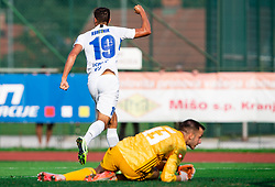 Gašper Koritnik of Celje celebrates after scoring against Jalen Arko of Triglav during football match between NK Triglav and NK Celje in 7th Round of Prva liga Telekom Slovenije 2019/20, on August 25, 2019 in Sports park, Kranj, Slovenia. Photo by Vid Ponikvar / Sportida