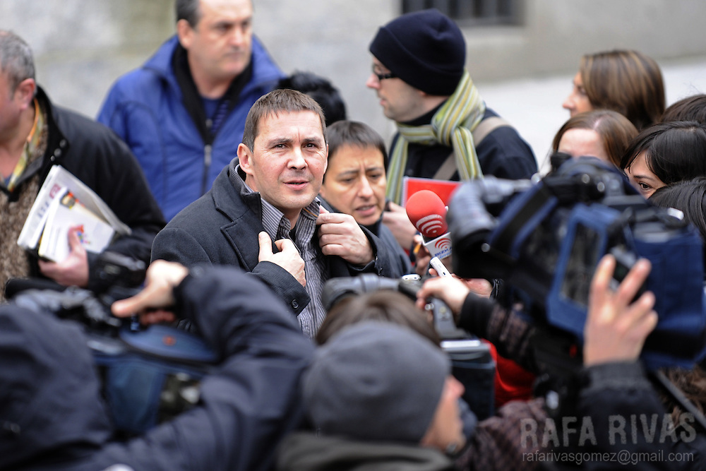 Former leader of banned Basque party Batasuna, Arnaldo Otegi (C) addresses journalists after leaving the Basque Country court, where he has attended his trial. The president of the Basque regional government, Juan Jose Ibarretxe, the leader of Basque Socialist Party-PSE-PSOE Patxi Lopez and PSE member Rodolfo Ares are charged with meeting Arnaldo Otegi and other representatives of the banned political wing of the armed separatist group ETA, Batasuna. Neither is expected to be convicted as prosecutors have recommended that the charges be droppedthe, on January 8, 2009, in the northern Spanish Basque city of Bilbao.