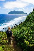 Woman trekking on Ofu Island, Manu´a island group, American Samoa, South Pacific, MR