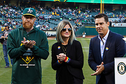 OAKLAND, CA - JUNE 17:  Sean Doolittle #62 of the Oakland Athletics and girlfriend Eireann Dolan stand on the field with MLB Ambassador for Inclusion Billy Bean before the game against the San Diego Padres at O.co Coliseum on June 17, 2015 in Oakland, California. The Oakland Athletics defeated the San Diego Padres 16-2. (Photo by Jason O. Watson/Getty Images) *** Local Caption *** Sean Doolittle; Eireann Dolan; Billy Bean