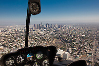 View from helicopter across to Downtown LA.