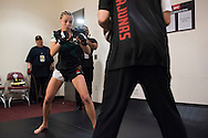 HOUSTON, TX - OCTOBER 3:  Rose Namajunas warms up backstage before her fight against Angela Hill during UFC 192 at the Toyota Center on October 3, 2015 in Houston, Texas. (Photo by Cooper Neill/Zuffa LLC/Zuffa LLC via Getty Images) *** Local Caption *** Rose Namajunas