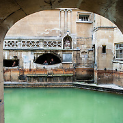 A partial view of the historic Roman Baths in Bath, Somerset.