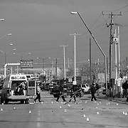 A crime scene in Ciudad Juarez, Mexico in which four people were killed in an ambulance by cartel assassins on a day where a total of 14 people were murdered during drug related violence.<br /> (Credit Image: © Louie Palu/ZUMA Press)