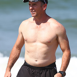 DURBAN, SOUTH AFRICA, December 10. 2015 - Johan Pretorius Head Strength &amp; Conditioning Coach during The Cell C Sharks Pre Season Beach South Beach training for the 2016 Super Rugby Season . (Photo by Steve Haag)<br /> images for social media must have consent from Steve Haag