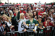 A crowd of fans cheer during a pep rally on the Great Lawn before the Arizona Cardinals NFL NFC Divisional round playoff football game against the Green Bay Packers on Saturday, Jan. 16, 2016 in Glendale, Ariz. The Cardinals won the game in overtime 26-20. (©Paul Anthony Spinelli)