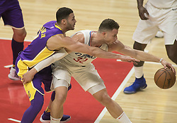 November 27, 2017 - Los Angeles, California, U.S - Larry Nance Jr. #7 of the Los Angeles Lakers tries to get the ball from Blake Griffin #32 of the Los Angeles Clippers during their game on Monday November 27, 2017 at the Staples Center in Los Angeles, California. Clippers vs Lakers. (Credit Image: © Prensa Internacional via ZUMA Wire)