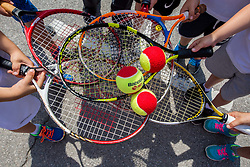 "Fan tennis event for kids named ""Play tennis"" by Tenis Slovenija, on May 27, 2018 in BTC - Millenium centre Ljubljana, Slovenia. Photo by Vid Ponikvar / Sportida"