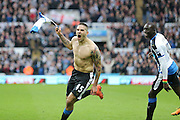 Newcastle United forward Aleksandar Mitrovic (45)  scores a goal and celebrates to make the score 1-1  during the Barclays Premier League match between Newcastle United and Sunderland at St. James's Park, Newcastle, England on 20 March 2016. Photo by Simon Davies.