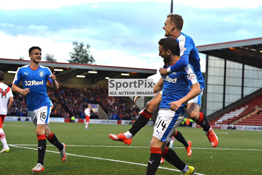 Your the man points Andy Halliday as he praises goalscorer Nicky Clark who is captured by team mate Dean Shiels after Clark had opened the scoring against Airdrie<br /> <br /> (c) BILLY WHITE | SportPix.org.uk