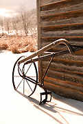 Wooden plow in snow