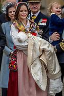 Prince Daniel, Duke of Vastergotland, Princess Estelle, Duchess of Ostergotland, Victoria, Crown Princess of Sweden and Prince Oscar, Duke of Skane leave the chapel after the christening of Prince Gabriel of Sweden after the christening of Prince Gabriel of Sweden at Drottningholm Palace  ROBIN UTRECHT