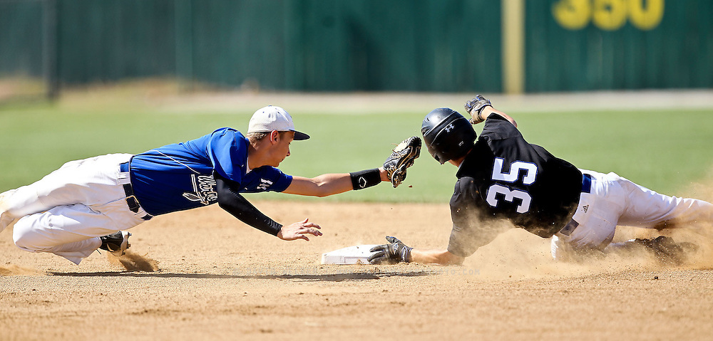 Andrew Basler (4) of the Valle Catholic Warriors stretches to tag a base runner during a game against the Summit Christian Academy Eagles in the 2012 Missouri High School State Baseball Tournament at Meador Park on May 30, 2012 in Springfield, Missouri. (David Welker/TurfImages.com).