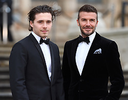 The Prince of Wales, The Duke of Cambridge and The Duke of Sussex attend the Global Premiere of Netflix's 'Our Planet' at The National History Museum, London, UK, on the 4th April 2019. 04 Apr 2019 Pictured: Brooklyn Beckham, David Beckham. Photo credit: James Whatling / MEGA TheMegaAgency.com +1 888 505 6342