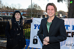 © Licensed to London News Pictures. 11/02/2019. London, UK. Lauri Love (R) and partner Sylvia Mann (L) arrive at Hendon Magistrates' Court. Love, an alleged hacker, is using the 'Police (Property) Act of 1897' to seek the return of his computers which were seized by police over five years ago. Last year, The High Court blocked Love's extradition to the United States. Photo credit : Tom Nicholson/LNP