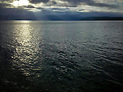 crepuscular rays on the Hood Canal of Puget Sound, WA USA