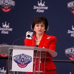 Jun 21, 2019; New Orleans, LA, USA; New Orleans Pelicans owner Gayle Benson talks about Zion Williamson the first overall selection in the NBA Draft talks during an introductory press conference at the New Orleans Pelicans Training Facility. Mandatory Credit: Derick E. Hingle-USA TODAY Sports