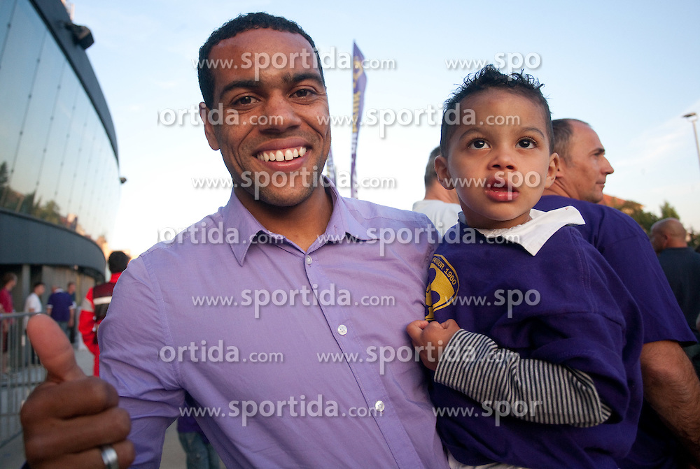Marcos Tavares of Maribor  with his son at the final Trophy ceremony after the football match between NK Maribor and NK Domzale of 36th - Last Round of 1st Slovenian football league PrvaLiga, on May 29, 2011 in Stadium Ljudski vrt, Maribor, Slovenia. (Photo By Vid Ponikvar / Sportida.com)