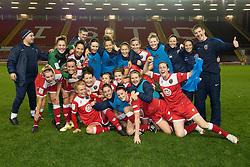 Bristol Academy celebrate their win at the end of the game - Photo mandatory by-line: Dougie Allward/JMP - Mobile: 07966 386802 - 13/11/2014 - SPORT - Football - Bristol - Ashton Gate - Bristol Academy Womens FC v FC Barcelona - Women's Champions League
