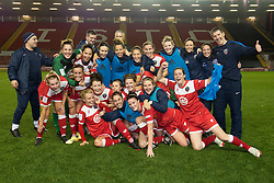 Bristol Academy celebrate their win at the end of the game - Photo mandatory by-line: Dougie Allward/JMP - Mobile: 07966 386802 - 13/11/2014 - SPORT - Football - Bristol - Ashton Gate - Bristol Academy Womens FC v FC Barcelona - Women's Champions League