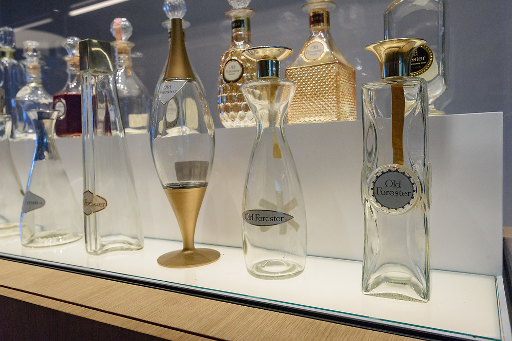 "A series of decanters designed by Raymond Loewy, ""the father of modern industrial design,"" who conceived the Brown-Forman logo on display in the Old Forester Distilling Company on Whisky Row in Louisville, Ky. June 6, 2018"