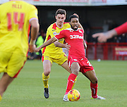 Crawley's Gavin Tomlin on the ball during the Sky Bet League 1 match between Crawley Town and Milton Keynes Dons at Broadfield Stadium, Crawley, England on 10 January 2015. Photo by Phil Duncan.
