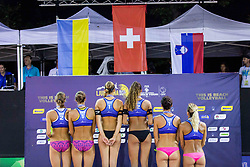 Second placed Inna Makhno and Iryna Makhno, Winners Esmée Böbner and Zoé Vergé-Dépre, Third placed Jelena Pesic and Ana Skarlovnik during flower ceremony after the FIVB  Beach Volleyball World Tour Ljubljana 2018, on August 5, 2018 in Kongresni trg, Ljubljana, Slovenia. Photo by Ziga Zupan / Sportida