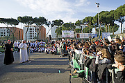 Rome mar 8th 2015, pope Francis visits the  church of S. Maria del Redentore, in the suburb of Tor Bella Monaca. In the picture pope Francis speeches to children © PIERPAOLO SCAVUZZO